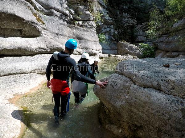 D�part dans le canyon du Cramassouri