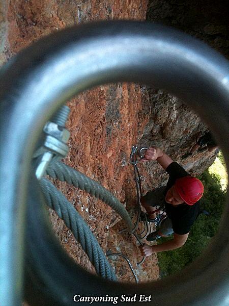 Partie d'escalade dans la via ferrata de Digne